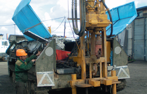 Drilling rig URB 2-A-2 based on a crawler cross-country vehicle MTLBU